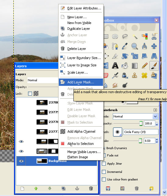 GIMP add layer mask and toolbox