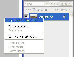 Creating a layer from background in Adobe Photoshop