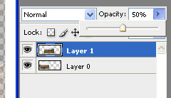 Set layer opacity / transparency in Adobe Photoshop