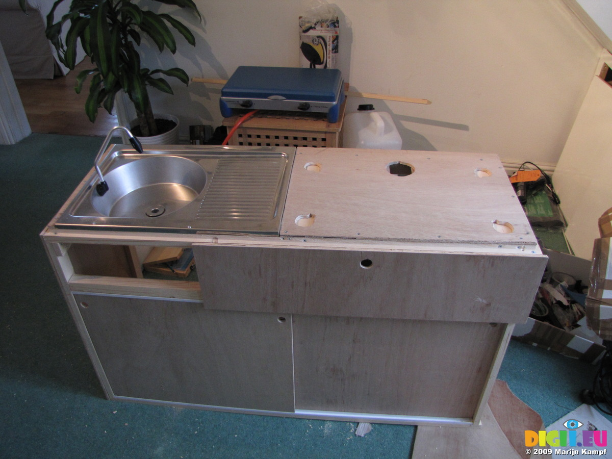 Picture SX09725 Sink and worktop of campervan kitchen unit ...
