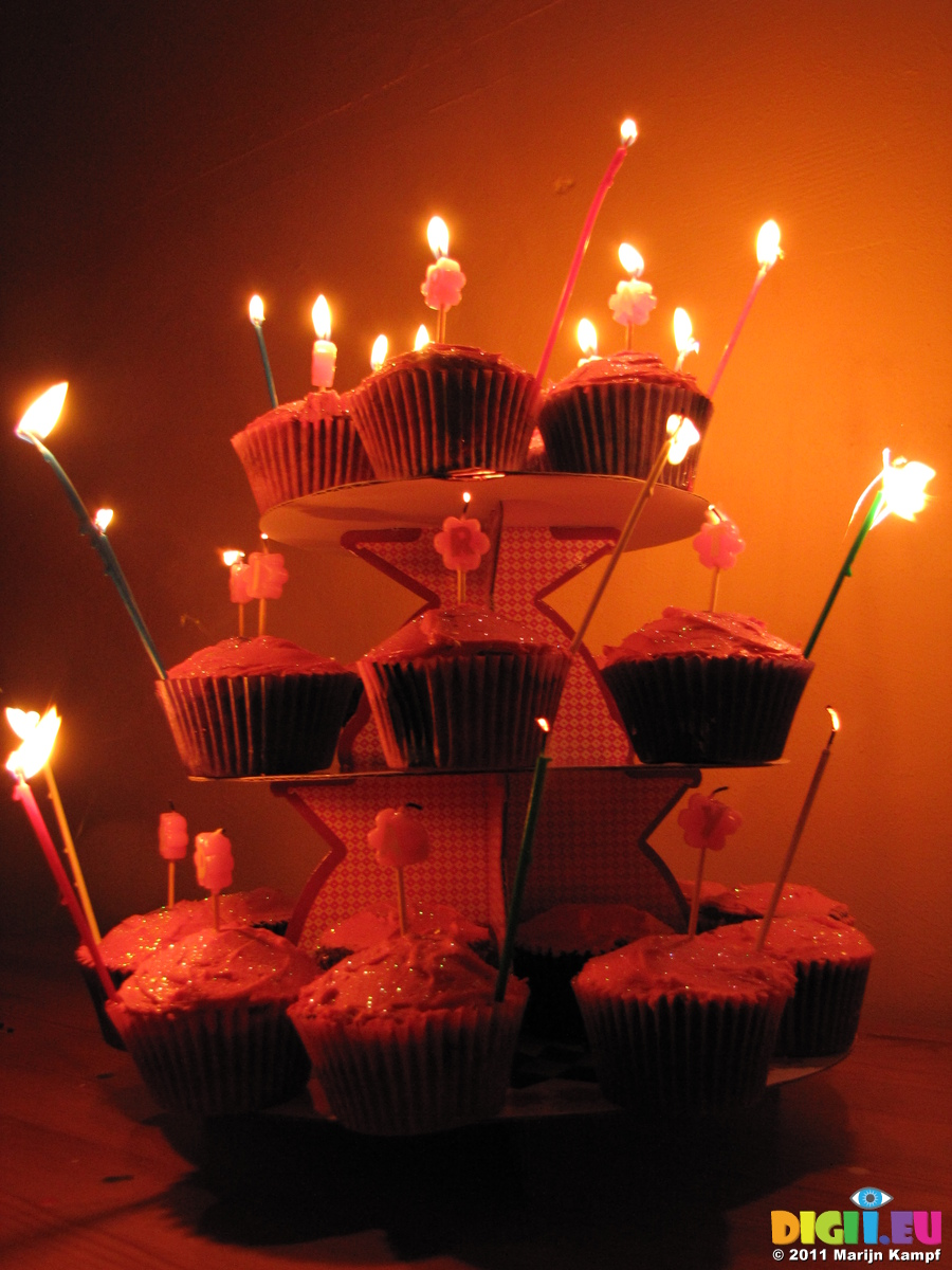 SX17138 Jens Cupcake Birthday Cakes With Candles Lit