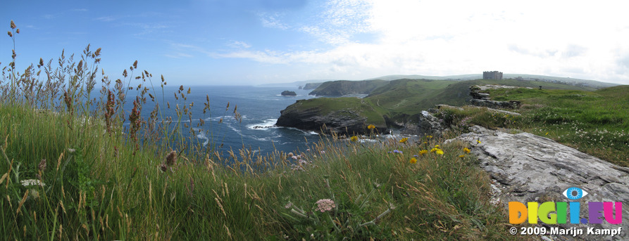 SX07185-07190 View past Barras Nose to cliffs from Tintagel Island
