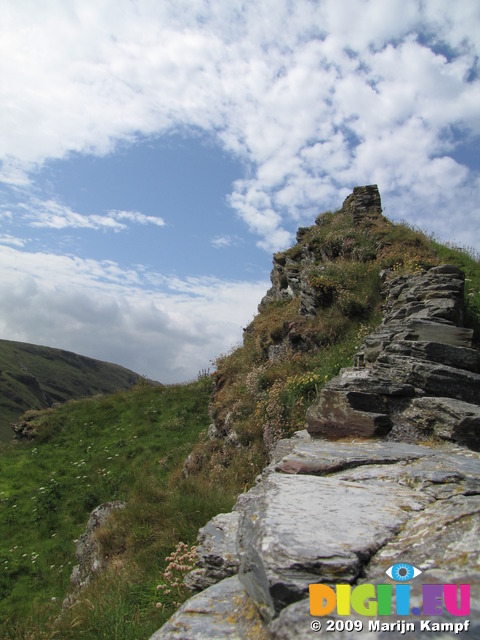 SX07244 View over castle wall on Tintagel Island