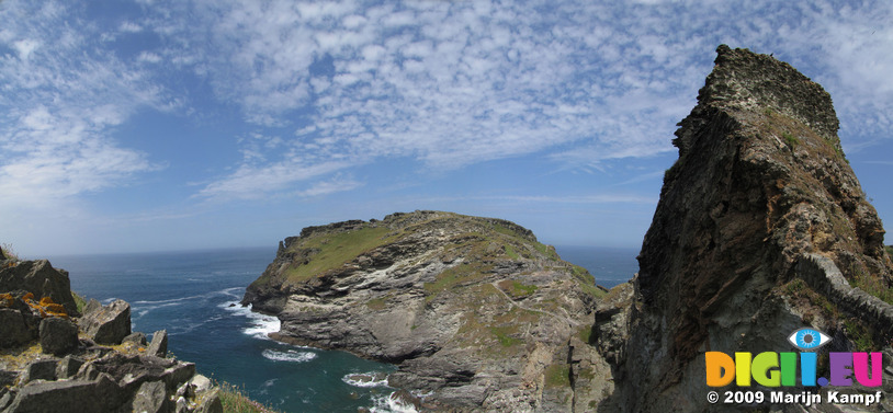 SX07296-07300 Panorama castles on Tintagel Island and Tintagel mainland