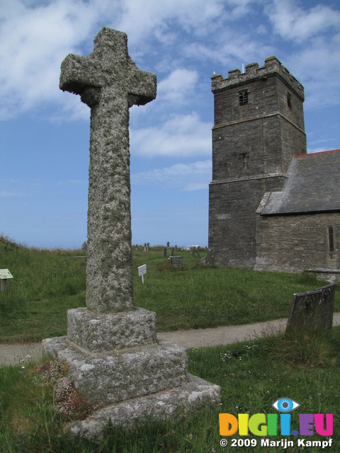 SX07313 Lychen on stone cross at Tintagel church