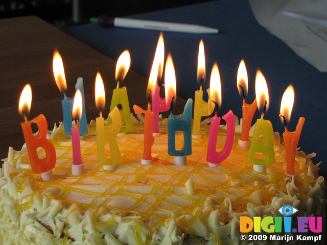 SX08214 Happy Birthday candles on cake