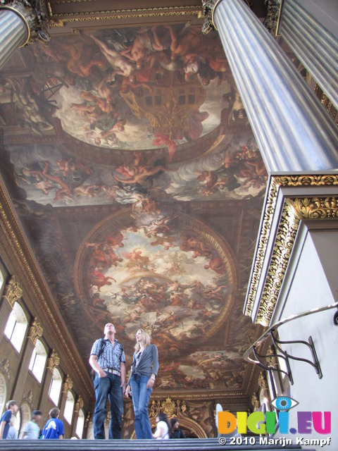 SX15894 Simon and Marieke in Painted Hall at The Old Royal Naval Collage in Greenwich, London