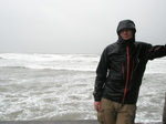 JT00838 Marijn in bad weather at Lifeguard house Tramore beach.JPG