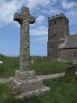 SX07313 Lychen on stone cross at Tintagel church.jpg