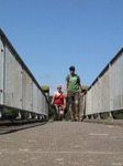 SX07986 Kristina and Wouko walking over footbridge near Ogmore Castle.jpg