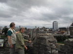 SX08145 Marjan and Machteld on top of Cardiff Castle tower.jpg