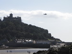 SX09246 Helicopter flying over St Michaels Mount.jpg