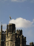 SX09876 Chimneys and Welsh flag on Margam Castle.jpg