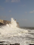 SX10162 Big wave onto lighthouse on harbour wall at Porthcawl point.jpg