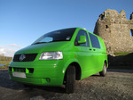 SX11135 Green Mean Camping Machine VW T5 campervan at Ogmore Castle.jpg
