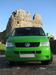 SX11137 Green Mean Camping Machine VW T5 campervan at Ogmore Castle.jpg