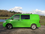 SX11141 Green Mean Camping Machine VW T5 campervan at Ogmore Castle.jpg