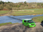 SX11161 Green Mean Camping Machine VW T5 campervan at Ogmore Castle.jpg