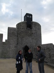 SX11209 Jenni, Lib and Matt at Dr Who's Tardis on Caerphilly castle.jpg