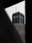 SX11229 Dr Who's Tardis from wooden walkway on Caerphilly castle.jpg