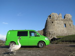 SX12368 Swan and our green VW T5 campervan at Ogmore Castle.jpg