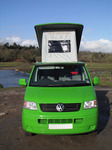SX12381 Our green VW T5 campervan with popup roof up at Ogmore Castle.jpg