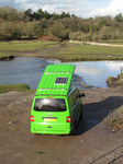 SX12396 Our green VW T5 campervan with popup roof up at Ogmore Castle.jpg
