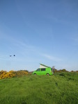 SX14136 Crows flying over Ralphie the green vw campervan.jpg