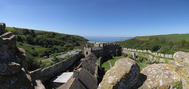 SX14295-14299 Panoramic view from old tower Manorbier Castle.jpg