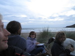 SX15744 Eating fish and chips at sunset on Saunton beach.jpg