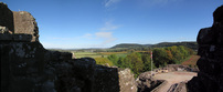 SX16587-16591 View over Barbican and fields beyond at Goodrich castle.jpg