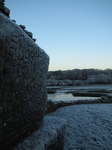 SX17082 Celtic pattern in stoe at Ogmore castle covered in frost.jpg