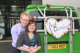IMG_7310 Marijn and Jenni at Just Married sign on van.JPG