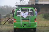 IMG_7317 Marijn and Jenni leaning out van with Just Married sign.JPG