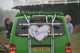 IMG_7320 Marijn and Jenni leaning out van with Just Married sign.JPG