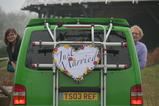 IMG_7326 Marijn and Jenni leaning out van with Just Married sign.JPG