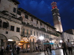 SX19427 Lamberti Tower from Piazza delle Erbe at night in Verona, Italy.jpg