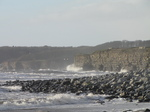 SX21203 Waves crashing at cliffs by Llantwit Major beach.jpg