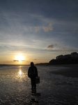 SX21252 Jenni with sunset over Tenby South Beach.jpg