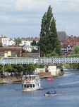 SX23065 Boat passing beneath footbridge on river Dee.jpg