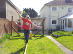 20140421 Trying slackline in garden