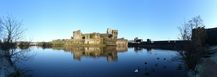 FZ010620-6 Caerphilly castle reflected in moat.jpg