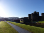 FZ010852 Smoke from chimneys at houses by Caerphilly castle.jpg