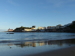 FZ020911 Reflection in beach of colourful houses in Tenby.jpg