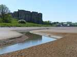FZ029537 Carew castle and tidal mill from mud flats.jpg